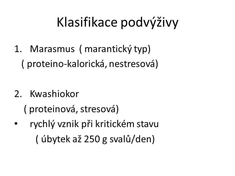 Klasifikace podvýživy 1.Marasmus ( marantický typ) ( proteino-kalorická, nestresová) 2.Kwashiokor ( proteinová, stresová) rychlý vznik při kritickém s