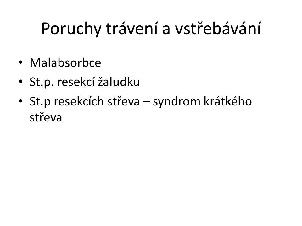 Poruchy trávení a vstřebávání Malabsorbce St.p. resekcí žaludku St.p resekcích střeva – syndrom krátkého střeva