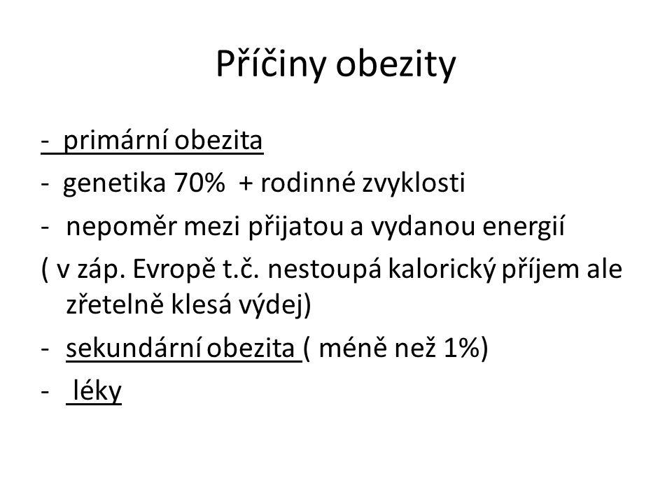 Příčiny obezity - primární obezita - genetika 70% + rodinné zvyklosti -nepoměr mezi přijatou a vydanou energií ( v záp. Evropě t.č. nestoupá kalorický
