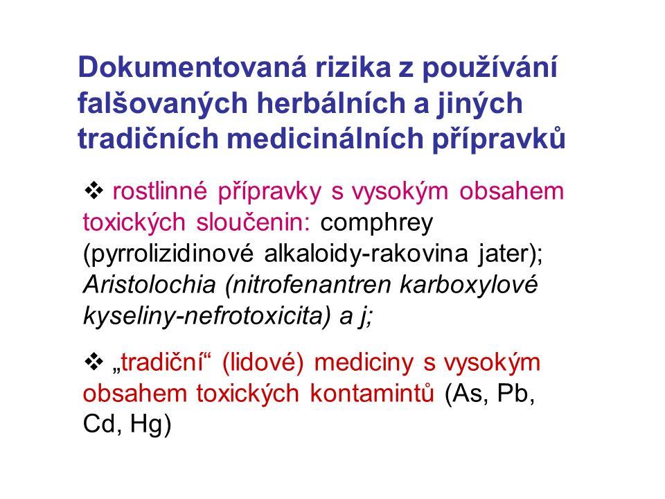"""Dokumentovaná rizika z používání falšovaných herbálních a jiných tradičních medicinálních přípravků  rostlinné přípravky s vysokým obsahem toxických sloučenin: comphrey (pyrrolizidinové alkaloidy-rakovina jater); Aristolochia (nitrofenantren karboxylové kyseliny-nefrotoxicita) a j;  """"tradiční (lidové) mediciny s vysokým obsahem toxických kontamintů (As, Pb, Cd, Hg)"""