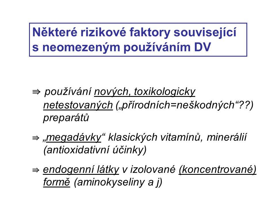 """Některé rizikové faktory související s neomezeným používáním DV ⇛ používání nových, toxikologicky netestovaných (""""přírodních=neškodných ) preparátů ⇛ """"megadávky klasických vitamínů, minerálií (antioxidativní účinky) ⇛ endogenní látky v izolované (koncentrované) formě (aminokyseliny a j)"""