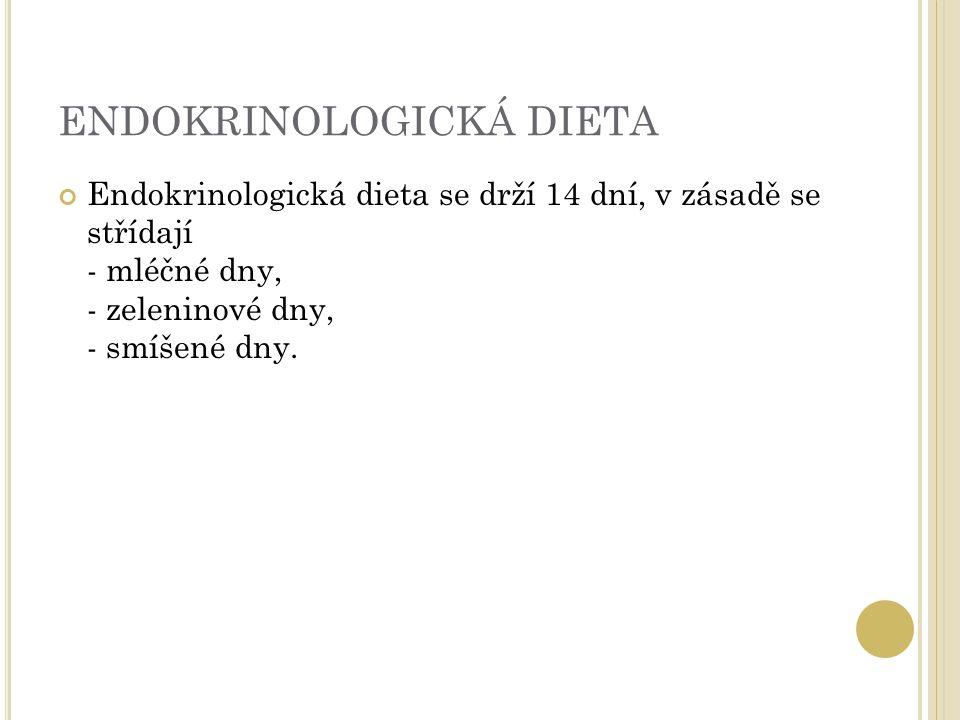 ENDOKRINOLOGICKÁ DIETA Endokrinologická dieta se drží 14 dní, v zásadě se střídají - mléčné dny, - zeleninové dny, - smíšené dny.