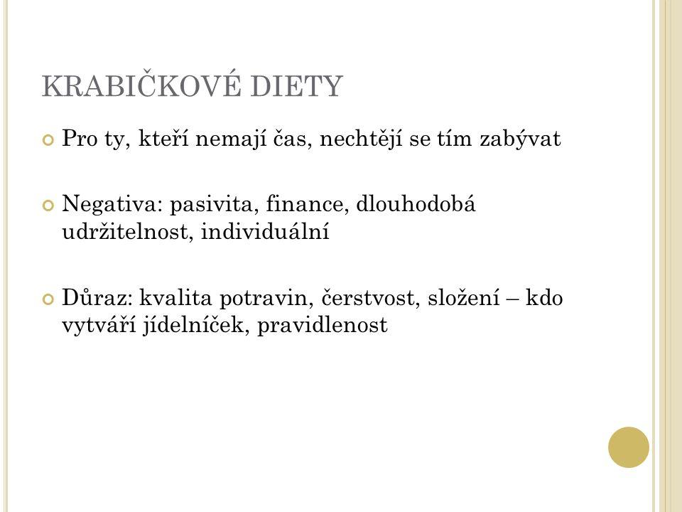 KRABIČKOVÉ DIETY Pro ty, kteří nemají čas, nechtějí se tím zabývat Negativa: pasivita, finance, dlouhodobá udržitelnost, individuální Důraz: kvalita potravin, čerstvost, složení – kdo vytváří jídelníček, pravidlenost