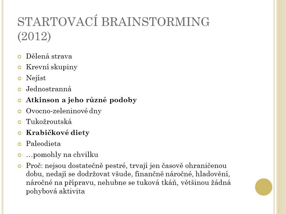 STARTOVACÍ BRAINSTORMING (2012) Dělená strava Krevní skupiny Nejíst Jednostranná Atkinson a jeho různé podoby Ovocno-zeleninové dny Tukožroutská Krabi