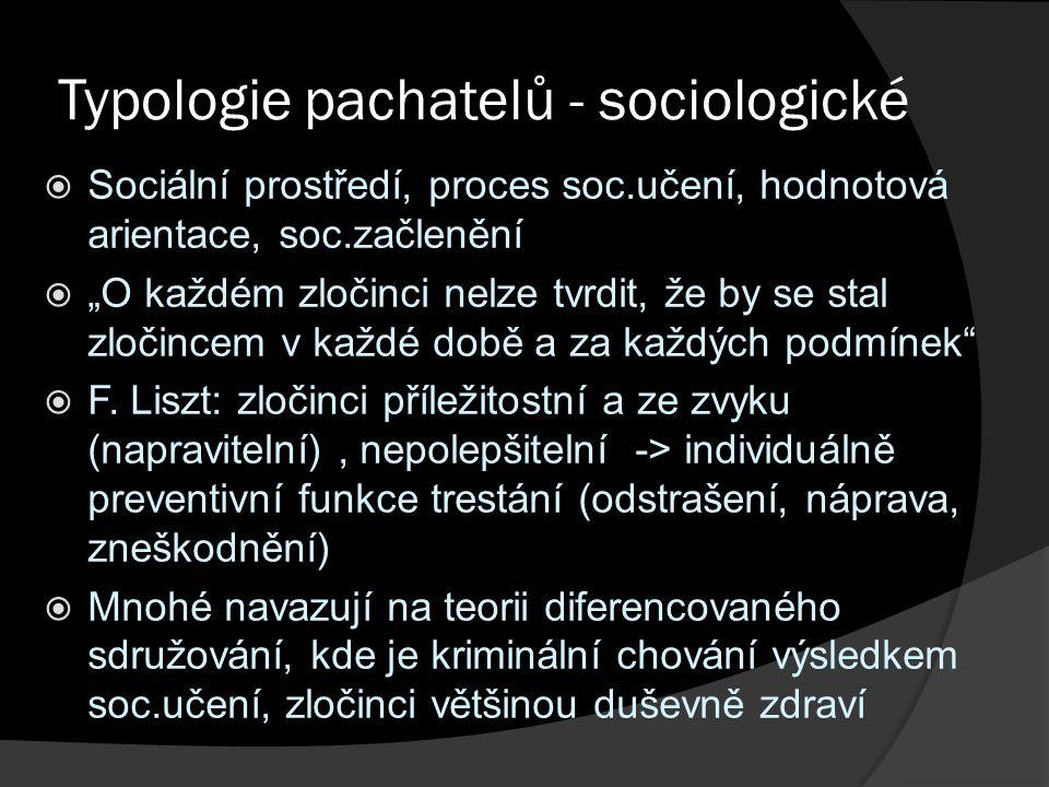 """Typologie pachatelů - sociologické  Sociální prostředí, proces soc.učení, hodnotová arientace, soc.začlenění  """"O každém zločinci nelze tvrdit, že by se stal zločincem v každé době a za každých podmínek  F."""