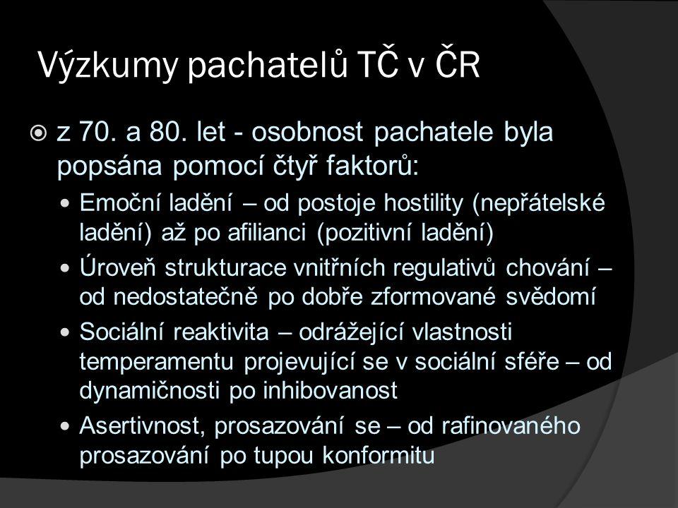 Výzkumy pachatelů TČ v ČR  z 70. a 80.