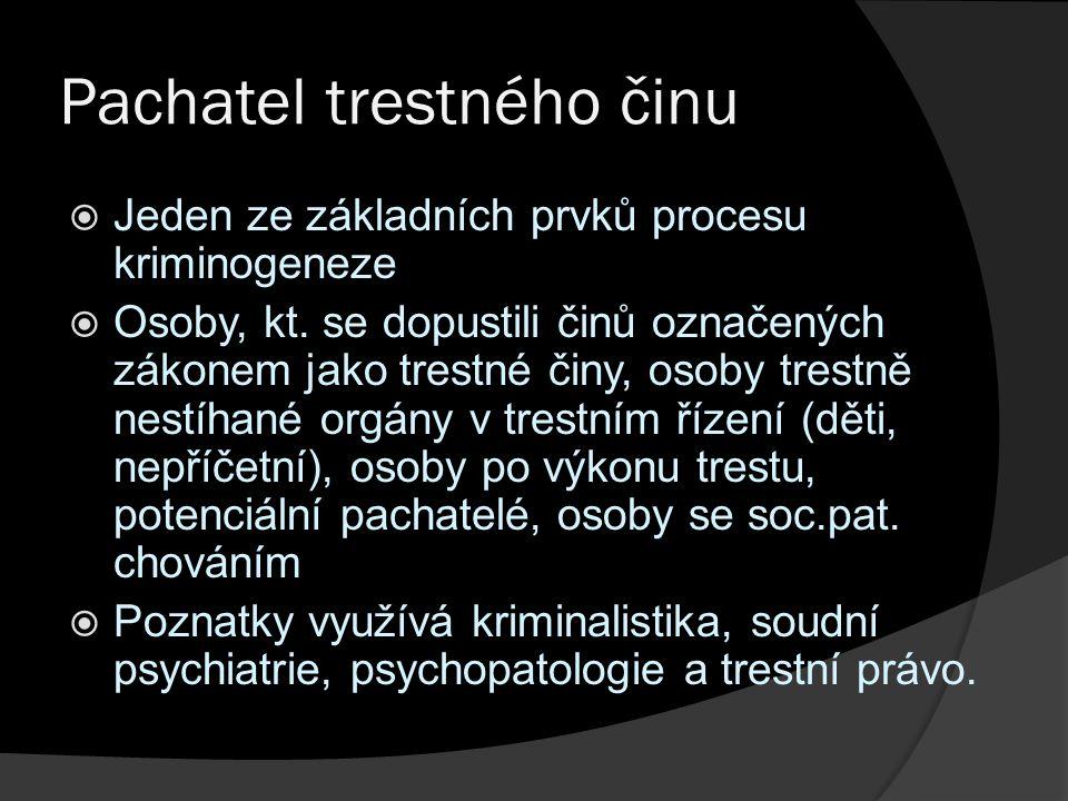 Pachatel trestného činu  Jeden ze základních prvků procesu kriminogeneze  Osoby, kt.
