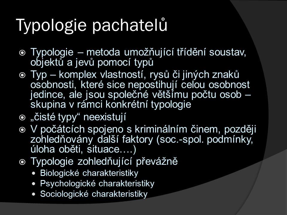 """Typologie pachatelů  Typologie – metoda umožňující třídění soustav, objektů a jevů pomocí typů  Typ – komplex vlastností, rysů či jiných znaků osobnosti, které sice nepostihují celou osobnost jedince, ale jsou společné většímu počtu osob – skupina v rámci konkrétní typologie  """"čisté typy neexistují  V počátcích spojeno s kriminálním činem, později zohledňovány další faktory (soc.-spol."""