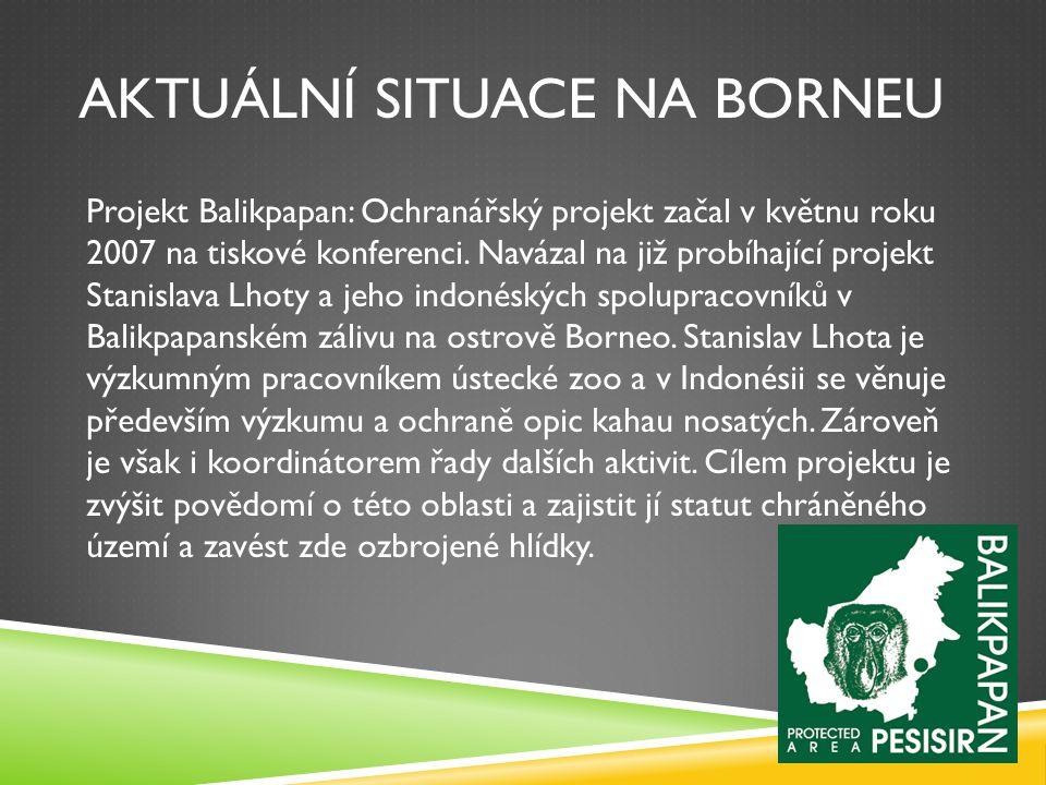 AKTUÁLNÍ SITUACE NA BORNEU Projekt Balikpapan: Ochranářský projekt začal v květnu roku 2007 na tiskové konferenci. Navázal na již probíhající projekt