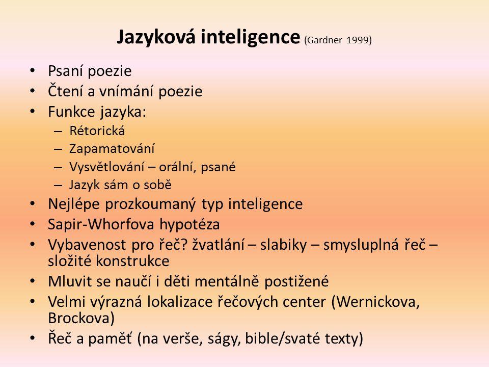 Jazyková inteligence (Gardner 1999) Psaní poezie Čtení a vnímání poezie Funkce jazyka: – Rétorická – Zapamatování – Vysvětlování – orální, psané – Jaz