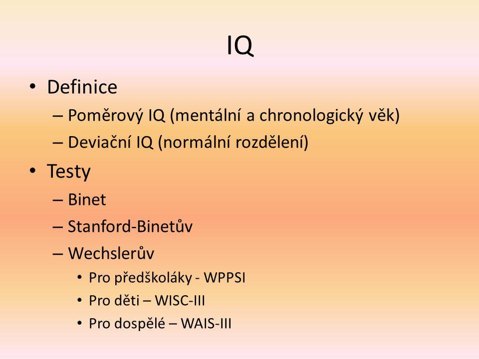 IQ Definice – Poměrový IQ (mentální a chronologický věk) – Deviační IQ (normální rozdělení) Testy – Binet – Stanford-Binetův – Wechslerův Pro předškol