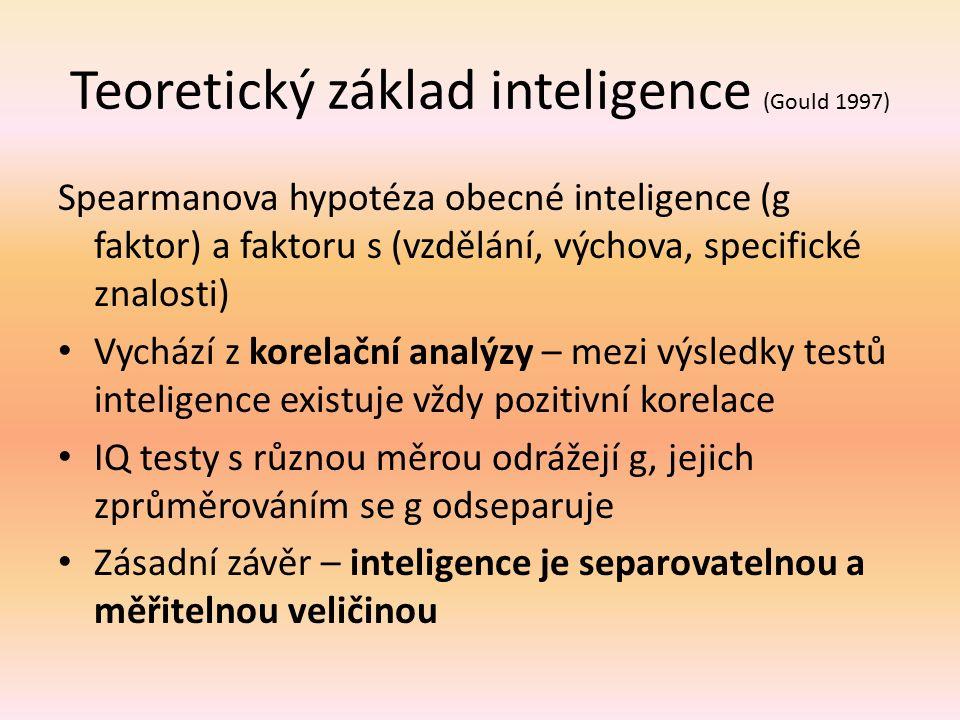Teoretický základ inteligence (Gould 1997) Spearmanova hypotéza obecné inteligence (g faktor) a faktoru s (vzdělání, výchova, specifické znalosti) Vyc