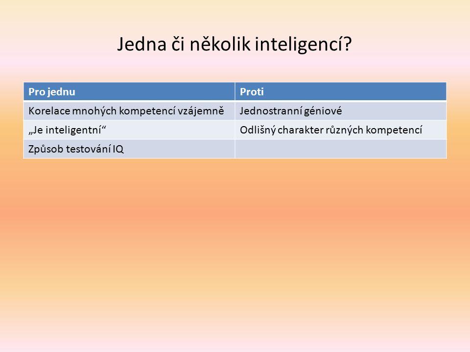"""Jedna či několik inteligencí? Pro jednuProti Korelace mnohých kompetencí vzájemněJednostranní géniové """"Je inteligentní""""Odlišný charakter různých kompe"""