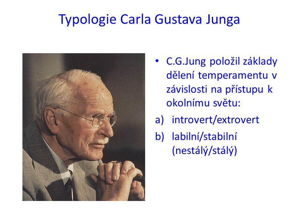 Typologie Carla Gustava Junga C.G.Jung položil základy dělení temperamentu v závislosti na přístupu k okolnímu světu: a)introvert/extrovert b)labilní/stabilní (nestálý/stálý)