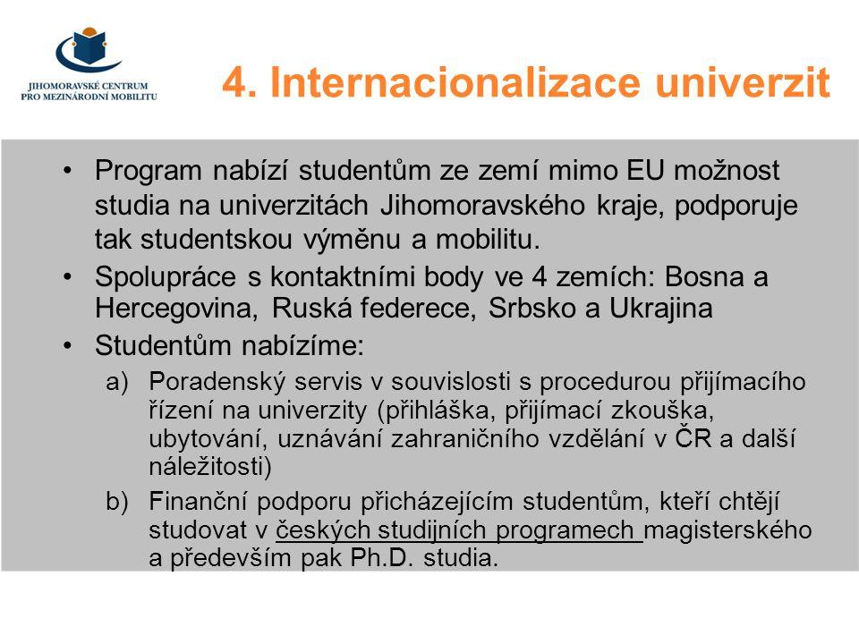 4. Internacionalizace univerzit Program nabízí studentům ze zemí mimo EU možnost studia na univerzitách Jihomoravského kraje, podporuje tak studentsko