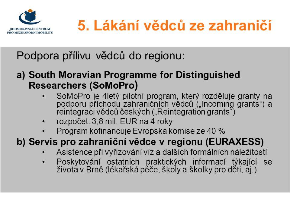 5. Lákání vědců ze zahraničí Podpora přílivu vědců do regionu: a)South Moravian Programme for Distinguished Researchers (SoMoPro ) SoMoPro je 4letý pi