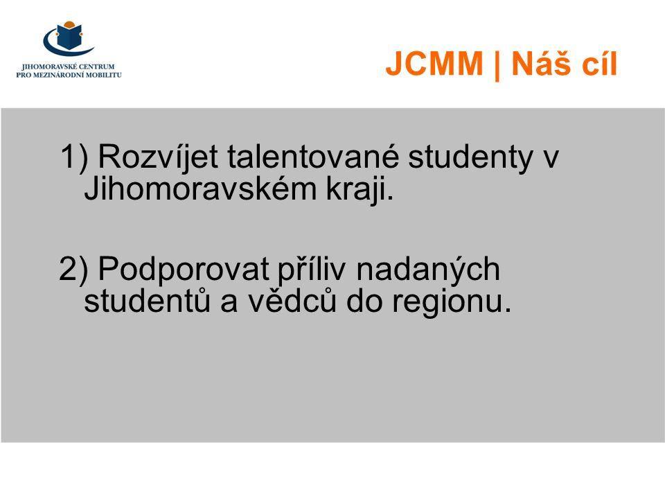 …vybrané výsledky JCMM podporuje a pracuje ročně s cca 150 talentovanými středoškoláky JCMM podporuje a pracuje ročně s cca 50 talentovanými vysokoškoláky na úrovni bakaláře JCMM podpořilo v roce 2010 prvních 20 PhD studentů (plán je podporovat 60 PhD studentů ročně) JCMM provozuje síť koordinátorů pro práci s talenty v celém JMK