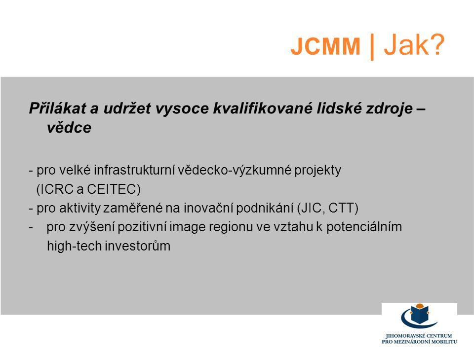 JCMM | Jak? Přilákat a udržet vysoce kvalifikované lidské zdroje – vědce - pro velké infrastrukturní vědecko-výzkumné projekty (ICRC a CEITEC) - pro a