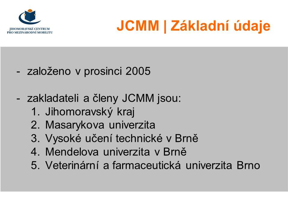 JCMM | Základní údaje -založeno v prosinci 2005 -zakladateli a členy JCMM jsou: 1.Jihomoravský kraj 2.Masarykova univerzita 3.Vysoké učení technické v