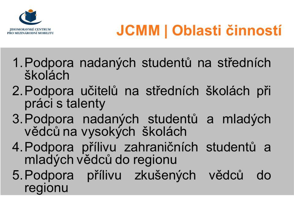 JCMM | Oblasti činností 1.Podpora nadaných studentů na středních školách 2.Podpora učitelů na středních školách při práci s talenty 3.Podpora nadaných