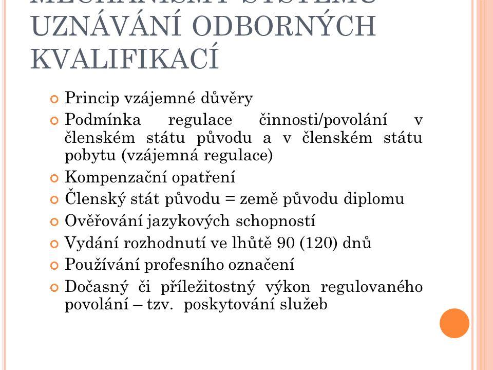 MECHANISMY SYSTÉMU UZNÁVÁNÍ ODBORNÝCH KVALIFIKACÍ Princip vzájemné důvěry Podmínka regulace činnosti/povolání v členském státu původu a v členském státu pobytu (vzájemná regulace) Kompenzační opatření Členský stát původu = země původu diplomu Ověřování jazykových schopností Vydání rozhodnutí ve lhůtě 90 (120) dnů Používání profesního označení Dočasný či příležitostný výkon regulovaného povolání – tzv.
