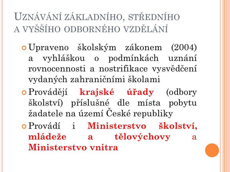 U ZNÁVÁNÍ ZÁKLADNÍHO, STŘEDNÍHO A VYŠŠÍHO ODBORNÉHO VZDĚLÁNÍ Upraveno školským zákonem (2004) a vyhláškou o podmínkách uznání rovnocennosti a nostrifikace vysvědčení vydaných zahraničními školami Provádějí krajské úřady (odbory školství) příslušné dle místa pobytu žadatele na území České republiky Provádí i Ministerstvo školství, mládeže a tělovýchovy a Ministerstvo vnitra