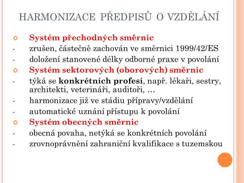HARMONIZACE PŘEDPISŮ O VZDĚLÁNÍ Systém přechodných směrnic - zrušen, částečně zachován ve směrnici 1999/42/ES - doložení stanovené délky odborné praxe v povolání Systém sektorových (oborových) směrnic - týká se konkrétních profesí, např.