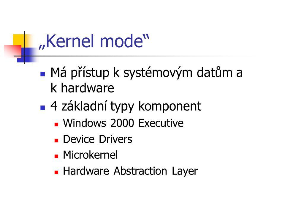 """""""Kernel mode Má přístup k systémovým datům a k hardware 4 základní typy komponent Windows 2000 Executive Device Drivers Microkernel Hardware Abstraction Layer"""