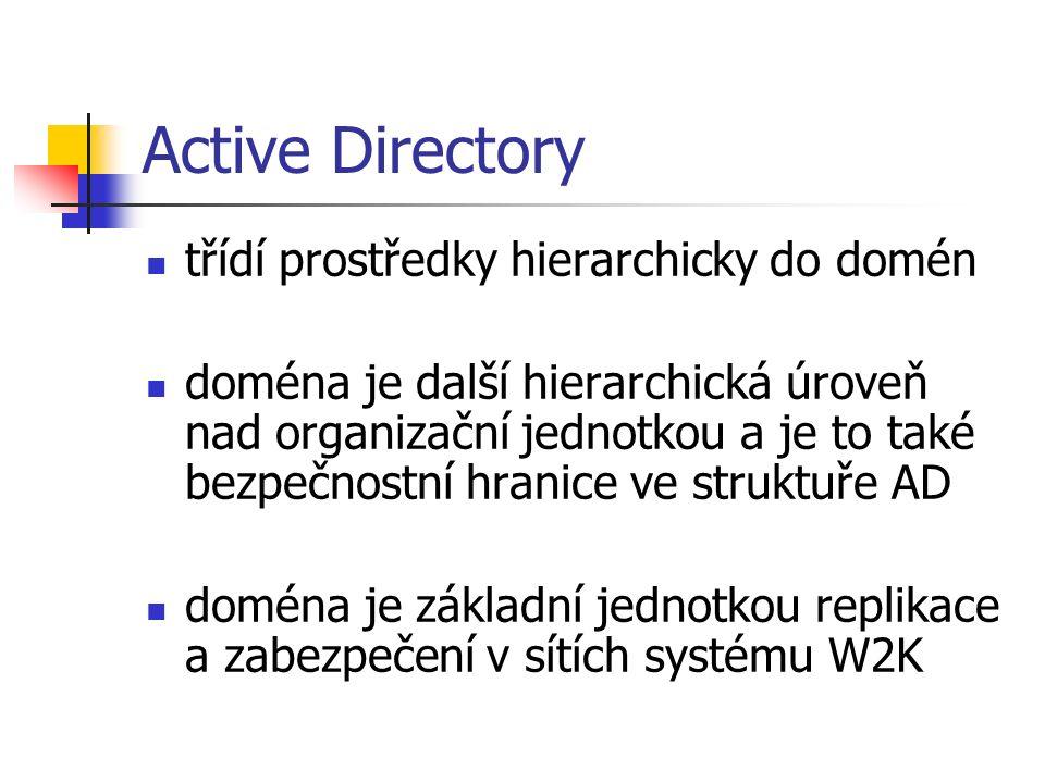 Active Directory třídí prostředky hierarchicky do domén doména je další hierarchická úroveň nad organizační jednotkou a je to také bezpečnostní hranice ve struktuře AD doména je základní jednotkou replikace a zabezpečení v sítích systému W2K