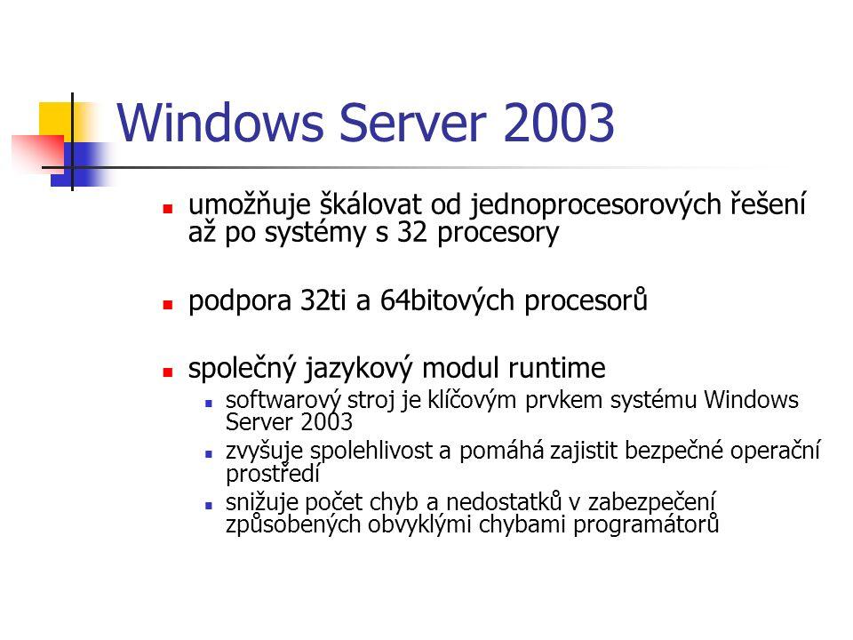 Windows Server 2003 umožňuje škálovat od jednoprocesorových řešení až po systémy s 32 procesory podpora 32ti a 64bitových procesorů společný jazykový modul runtime softwarový stroj je klíčovým prvkem systému Windows Server 2003 zvyšuje spolehlivost a pomáhá zajistit bezpečné operační prostředí snižuje počet chyb a nedostatků v zabezpečení způsobených obvyklými chybami programátorů