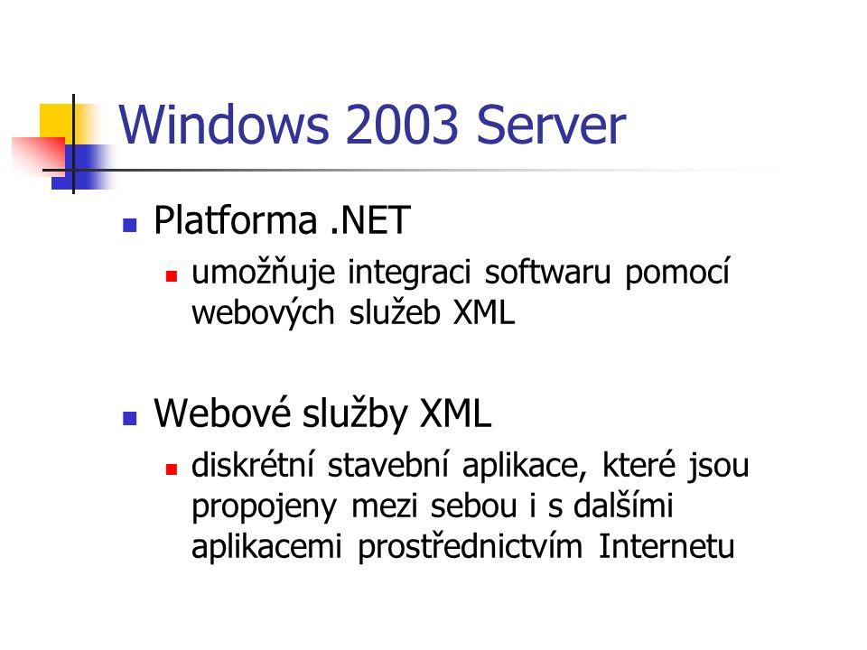 Windows 2003 Server Platforma.NET umožňuje integraci softwaru pomocí webových služeb XML Webové služby XML diskrétní stavební aplikace, které jsou propojeny mezi sebou i s dalšími aplikacemi prostřednictvím Internetu