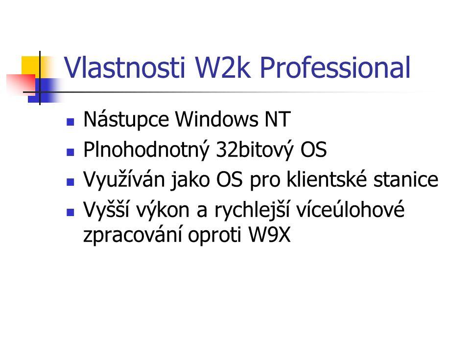 Vlastnosti W2k Professional Nástupce Windows NT Plnohodnotný 32bitový OS Využíván jako OS pro klientské stanice Vyšší výkon a rychlejší víceúlohové zpracování oproti W9X