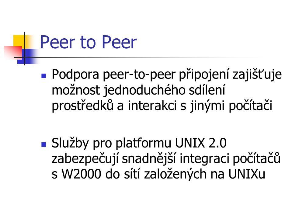 Peer to Peer Podpora peer-to-peer připojení zajišťuje možnost jednoduchého sdílení prostředků a interakci s jinými počítači Služby pro platformu UNIX 2.0 zabezpečují snadnější integraci počítačů s W2000 do sítí založených na UNIXu