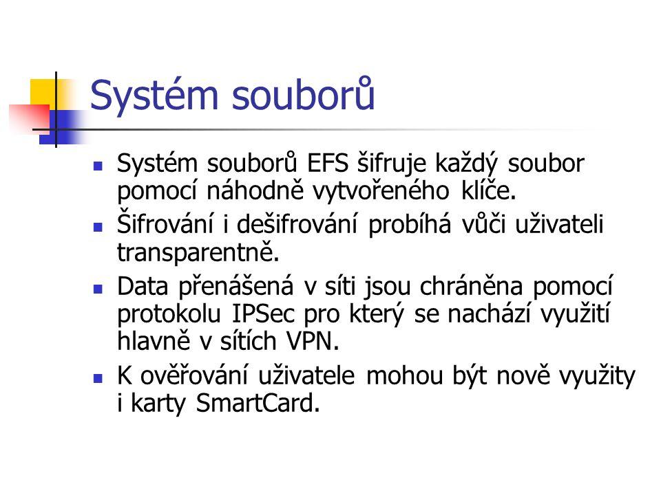 Systém souborů Systém souborů EFS šifruje každý soubor pomocí náhodně vytvořeného klíče.