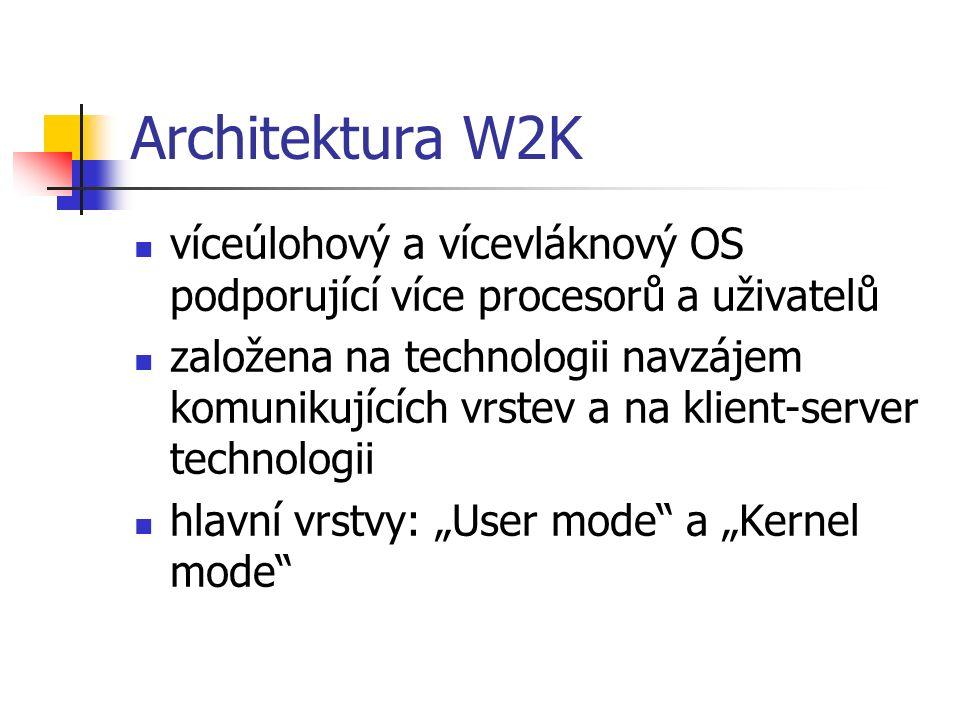 """Architektura W2K víceúlohový a vícevláknový OS podporující více procesorů a uživatelů založena na technologii navzájem komunikujících vrstev a na klient-server technologii hlavní vrstvy: """"User mode a """"Kernel mode"""