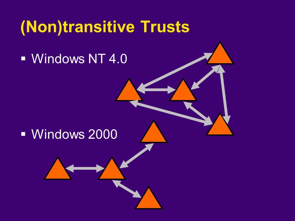(Non)transitive Trusts  Windows NT 4.0  Windows 2000