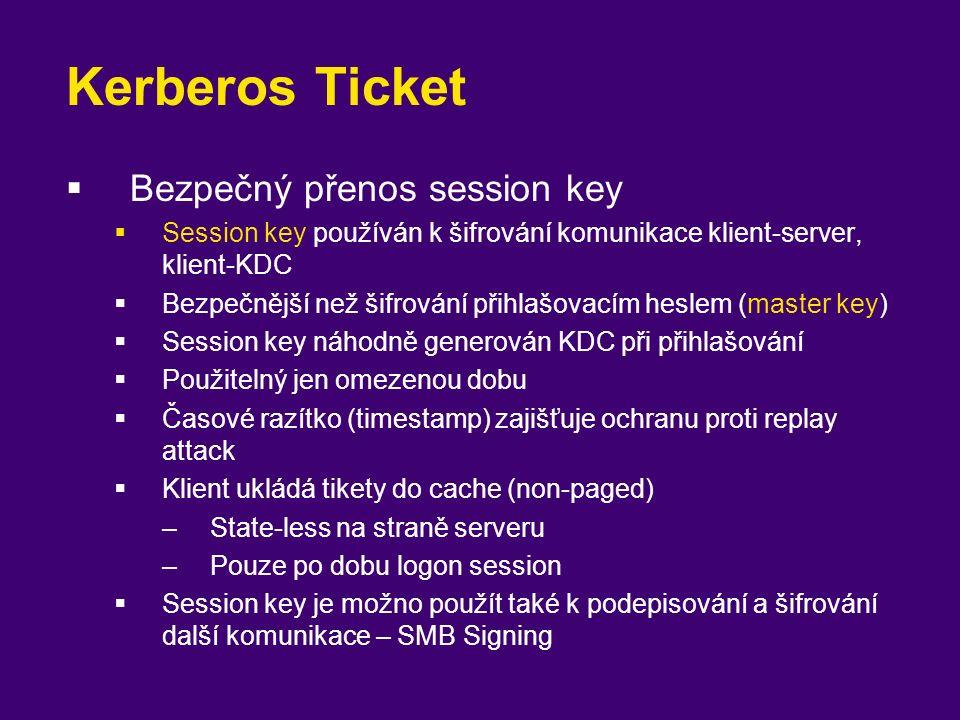 Kerberos Ticket  Bezpečný přenos session key  Session key používán k šifrování komunikace klient-server, klient-KDC  Bezpečnější než šifrování přih