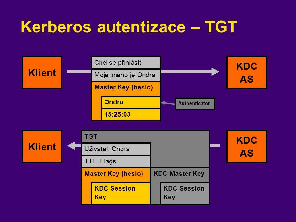 Kerberos autentizace – TGT Chci se přihlásit Moje jméno je Ondra Klient KDC AS Master Key (heslo) Ondra 15:25:03 TGT Klient KDC AS Authenticator Uživa