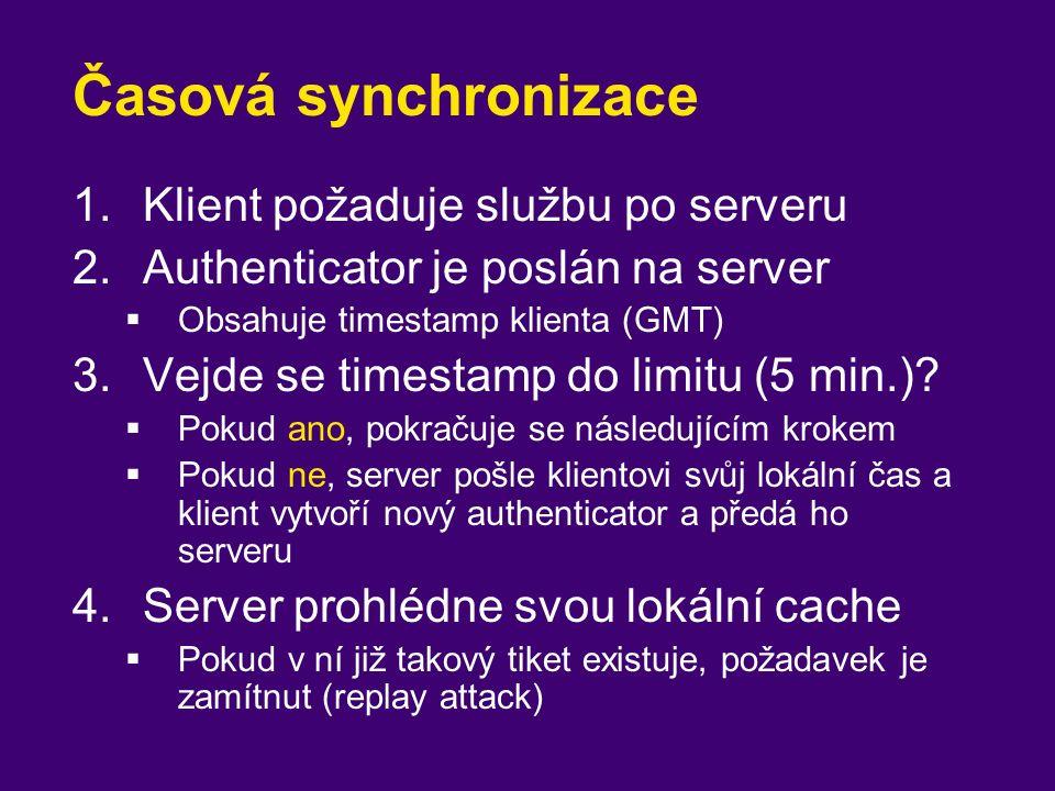 Časová synchronizace 1.Klient požaduje službu po serveru 2.Authenticator je poslán na server  Obsahuje timestamp klienta (GMT) 3.Vejde se timestamp d