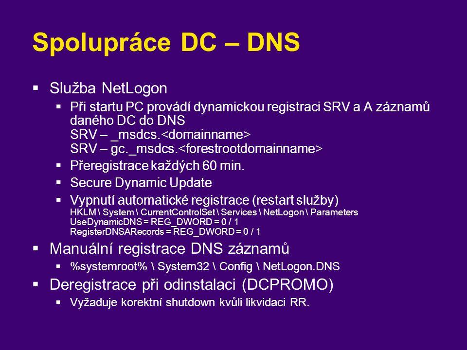 Spolupráce DC – DNS  Služba NetLogon  Při startu PC provádí dynamickou registraci SRV a A záznamů daného DC do DNS SRV – _msdcs. SRV – gc._msdcs. 