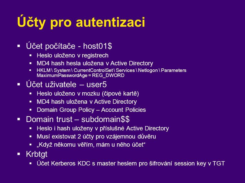 Účty pro autentizaci  Účet počítače - host01$  Heslo uloženo v registrech  MD4 hash hesla uložena v Active Directory  HKLM \ System \ CurrentContr