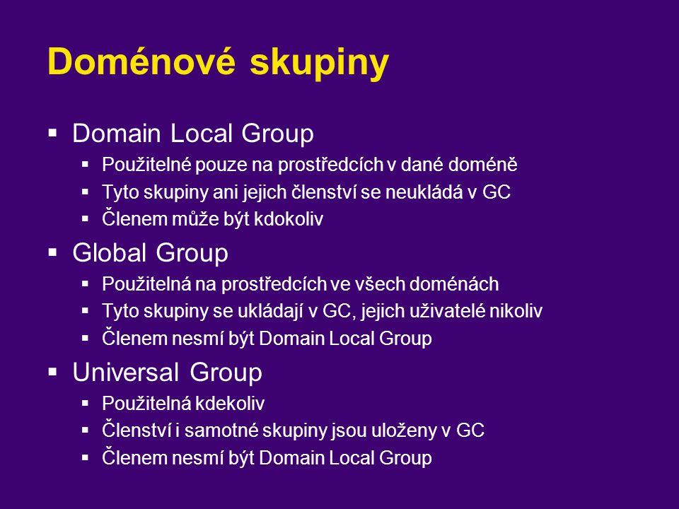 Doménové skupiny  Domain Local Group  Použitelné pouze na prostředcích v dané doméně  Tyto skupiny ani jejich členství se neukládá v GC  Členem mů