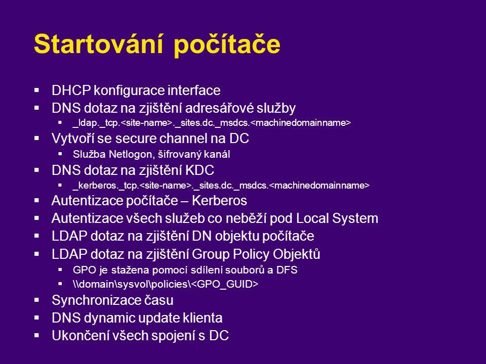 Startování počítače  DHCP konfigurace interface  DNS dotaz na zjištění adresářové služby  _ldap._tcp.._sites.dc._msdcs.  Vytvoří se secure channel