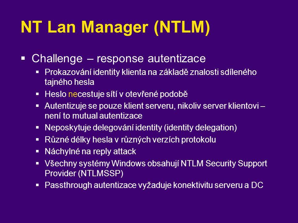 """Kerberos (RFC 1510)  Trojhlavý pes hlídající vstup do podsvětí  Authentication, Access Control, Auditing  Symetrická kryptografie  Vztahy důvěry podobně jako asymetrická  Vzájemná (mutual) autentizace  Klient si je jist, že hovoří se serverem, který zná jeho heslo  Transitive trust  Není potřeba passthrough autentizace  Rychlejší než NTLM  RC4-HMAC (128-bit)  """"Use DES encryption types for this account – uživatelský učet  Delegation  Využívá Active Directory k ukládání účtů"""