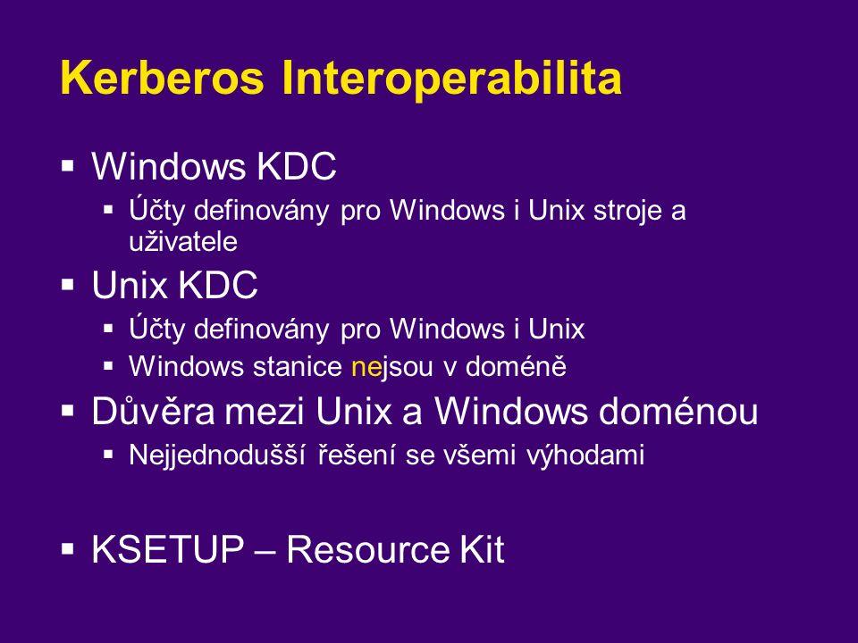 Kerberos Interoperabilita  Windows KDC  Účty definovány pro Windows i Unix stroje a uživatele  Unix KDC  Účty definovány pro Windows i Unix  Wind