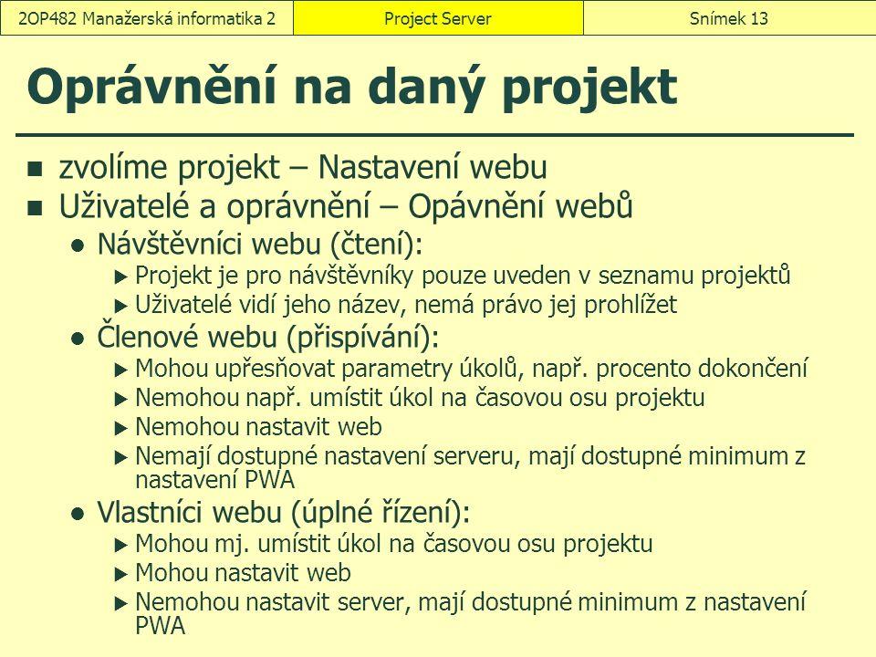 Oprávnění na daný projekt zvolíme projekt – Nastavení webu Uživatelé a oprávnění – Opávnění webů Návštěvníci webu (čtení):  Projekt je pro návštěvníky pouze uveden v seznamu projektů  Uživatelé vidí jeho název, nemá právo jej prohlížet Členové webu (přispívání):  Mohou upřesňovat parametry úkolů, např.