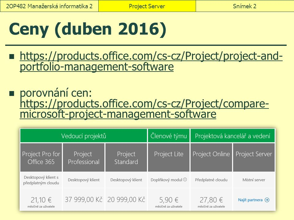 Ceny (duben 2016) https://products.office.com/cs-cz/Project/project-and- portfolio-management-software https://products.office.com/cs-cz/Project/project-and- portfolio-management-software porovnání cen: https://products.office.com/cs-cz/Project/compare- microsoft-project-management-software https://products.office.com/cs-cz/Project/compare- microsoft-project-management-software Project ServerSnímek 22OP482 Manažerská informatika 2