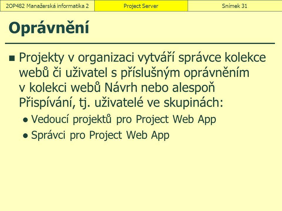Oprávnění Projekty v organizaci vytváří správce kolekce webů či uživatel s příslušným oprávněním v kolekci webů Návrh nebo alespoň Přispívání, tj. uži