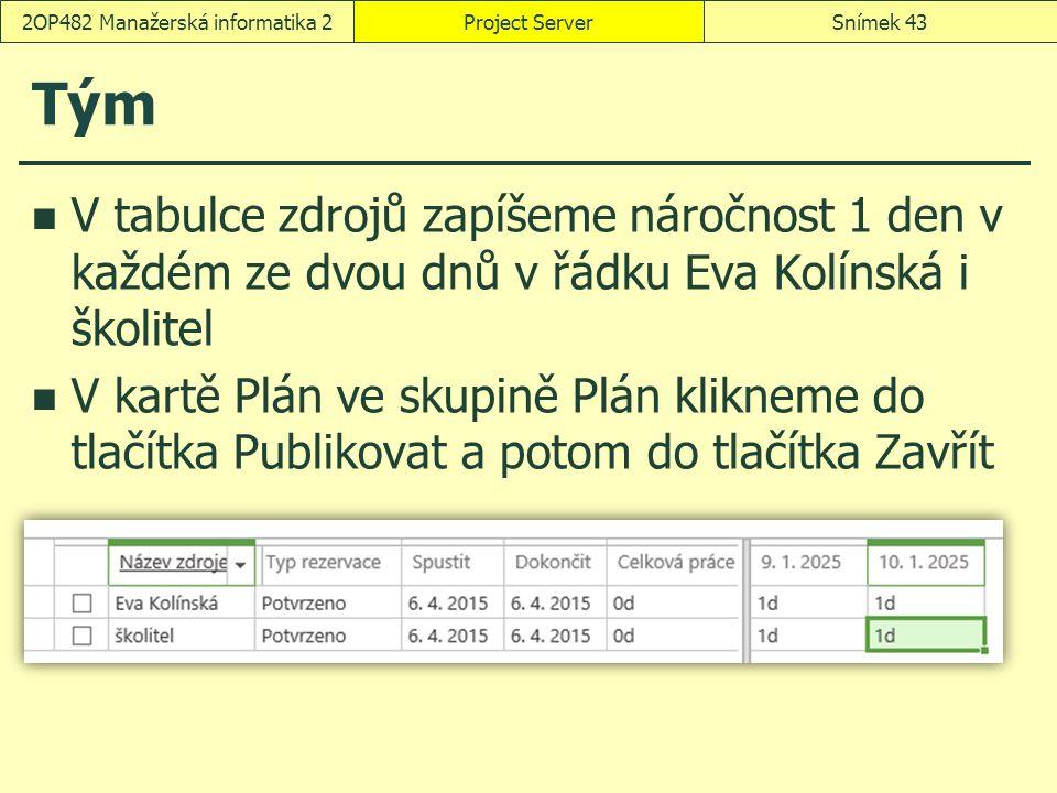 Tým V tabulce zdrojů zapíšeme náročnost 1 den v každém ze dvou dnů v řádku Eva Kolínská i školitel V kartě Plán ve skupině Plán klikneme do tlačítka Publikovat a potom do tlačítka Zavřít Project ServerSnímek 432OP482 Manažerská informatika 2