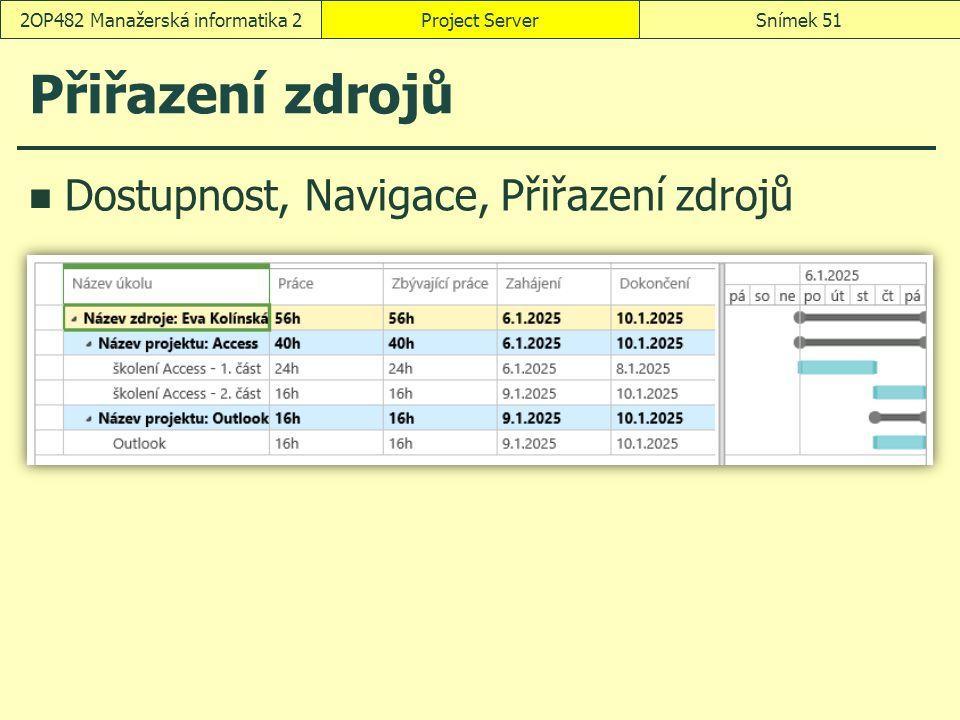 Přiřazení zdrojů Dostupnost, Navigace, Přiřazení zdrojů Project ServerSnímek 512OP482 Manažerská informatika 2